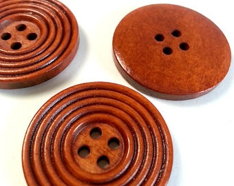 Lot of 10 brown round wooden buttons, decorative button with 4 holes, brown button, natural creative material, scrapbooking button.