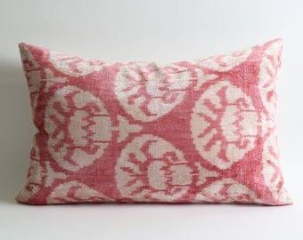ikat pillow, pink ikat pillow, ikat pillow cover, velvet pillow, decorative pillows, ikat velvet pillow, pillow, pink pillows, ikat velvet