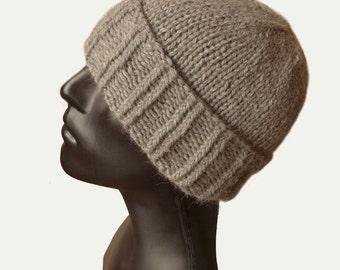Skull Beanie - Mens Knit Hat - Beanie Hat - Cuffed Beanie - Mens Winter Hat - Mens Hat - Grey Hat - Fisherman Hat - Wool Hat - Natural Fiber