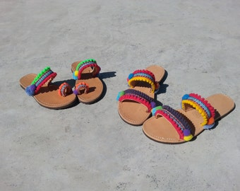 "RiRiPoM, Boho Chic Sandals, Pom Pom Sandals, Greek Leather Sandals, Boho Sandals, Colorful , ""Mafalda"""