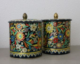 Floral Tin Canister Set c1960s