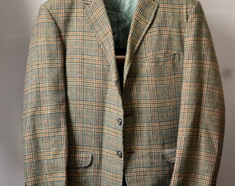 Vintage STERNS Yellow w. Forest Green/Brown Glen Plaid Ivy Style Sack Jacket Unstructured Size Small 36/38 Waterville Maine GTH