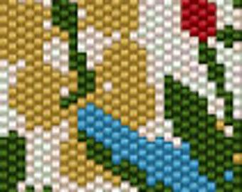 Prairie Floral I Seed Bead Peyote Cuff Beaded Bracelet Pattern