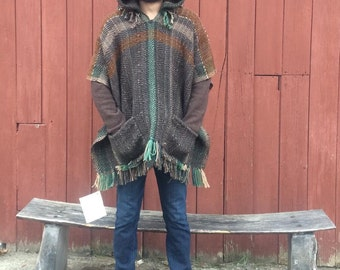 Tree Man Handwoven Hooded Super-Warm Wool Poncho with pockets