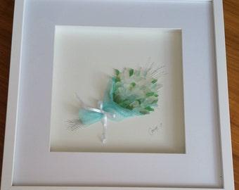 3D Seaglass wall decor shadow box art. Mothers day, birthdays, weddings, gift