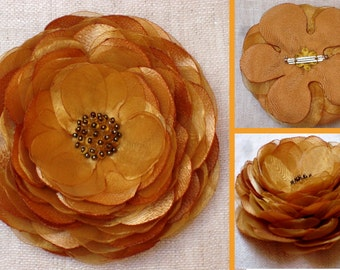 Golden Fabric Brooch. Flower Brooch. Flower Pin. Floral Accessories. Accessories.