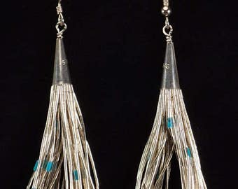 """Vintage Native American Navajo 20 Strand """"Liquid Silver"""" Earrings Sterling Silver with Turquoise Heishi Dangle Drop French Hook"""