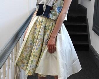 Handmade cream 70's floral boho indie festival midi skirt.