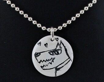 Doggie Love Kiln-Fired Enamel Disc Pendant
