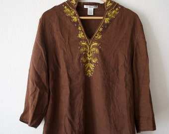Vintage Linen Indian Three Quarter Sleeves Top with Beading and Embroidery // Size Women's Medium