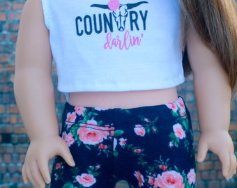 American Made Doll Clothes | Country Darlin' Bull Skull Graphic CROP TANK TOP for 18 inch doll such as American Girl Doll
