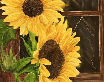 Sunflowers, Floral Original Oil Painting 12in x 16in