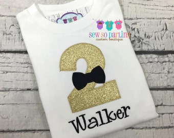 black and gold birthday outfit boy - 2nd birthday shirt boy - first birthday outfit boy - bow tie birthday shirt - gold and black birthday