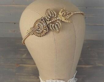 Gold Art Deco Headband, Gold Art Deco Headpiece, Gold Vintage 1920's Headband, Rhinestone Headband, Wedding, Bridal Headband, Leaf, Gatsby