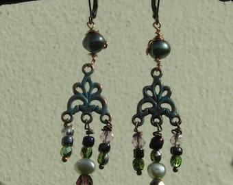 Handmade One of a Kind Copper and Czech glass rustic, boho,dangle earrings