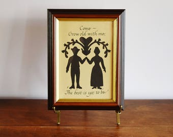 Framed Silhouette Portrait Man Woman Hand in Hand, Calligraphy Grow Old With Me The Best is Yet to Be, Black White Love Wall Art Anniversary