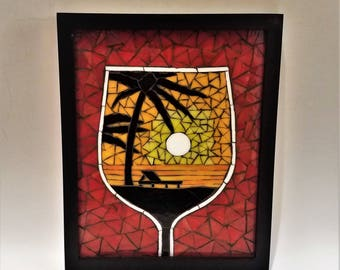 Tropical Sunset Wine Glass Mosaic, Beach Mosaic, Tropical Paradise, Beachy Decor, WIne Glass Art, Beautiful Mosaic Art, Unique Stained Glass