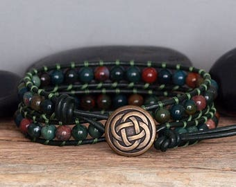 Mens Beaded Leather Gemstone Double Wrap Bracelet, Bloodstone Wrap Bracelet, Mens Natural Green Stone and Leather Wrap, Bohemian Jewelry