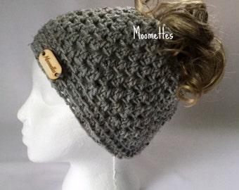 Crochet Handmade Messy Bun Hat Ponytail Beanie Light Gray Grey Aran Fleck Oval Wood Button Runner Cloche Teens Women