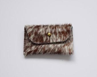 Cowhide Card Holder, Western Leather Card Case, Hair-on Money Sleeve