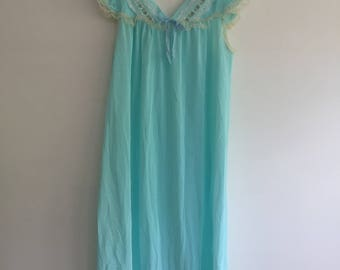 Vintage Irene Lingerie Light Blue Nylon 60s Nightie