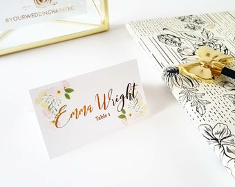 Gold Name Cards, Wedding Name Cards, Escort Cards, Real Gold Foil, Chic Wedding Decor, Folded Wedding Cards, Reception Cards, Place Cards