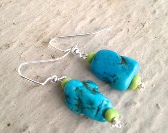 Blue Howlite Earrings; Turquoise colored Earrings; Howlite Jewelry; Turquoise colored jewelry