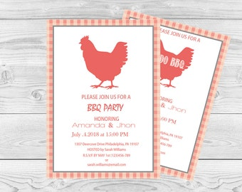 Chicken BBQ Party Invitation Template - 5 x 7 Gingham Barbeque Editable PDF Template - Rehearsal Dinner, Engagement Party - DIY You Print