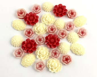 30 flower cabochon flower mix ,cream and red color, 11mm to 22mm #FL98-1