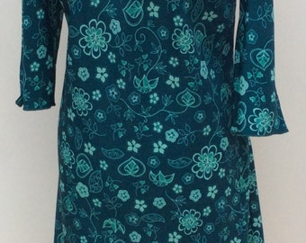 Vintage dress plus size 1960s 1970s mid century Mad Men Joan Peggy teal green patterned sixties seventies Halloween costume party large 0100