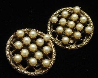 Vintage Earrings with Imitation Pearl Grids