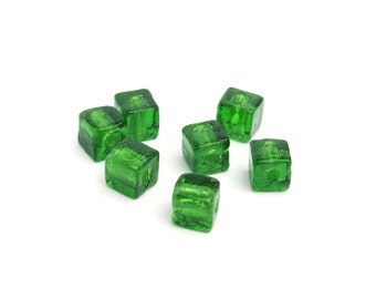 Emerald Green Venetian Glass with Foil Square Cube Beads 6mm 6pcs