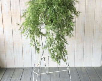 Vintage Metal Plant Stand With Chippy White Paint