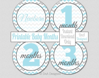 Baby Month Printable Stickers - Instant Download - Iron On - Blue Gray Chevron - Digital - DIY - {65BM}