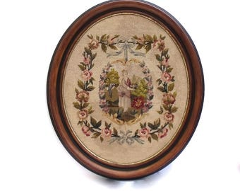French Large Antique Roses Ribbons Aubusson Wool work Needlepoint Tapestry Petit Point 1900's framed wall art