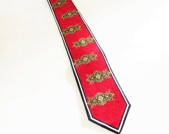 """Vintage Stacy Adams NeckTie 100% Silk Handmade Red, White, Navy and Gold Fancy Flourish Design 59"""""""