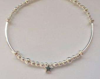 Sterling Silver Noodle Bracelet, Star Charm 925 Bracelet, Silver Bead Bracelet, 925 Ball Bangle, Minimalist Jewellery Gift For Her, UK Shop