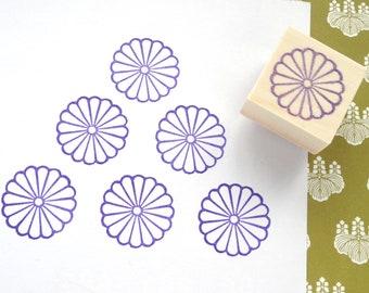 Japanese Chrysanthemum Rubber Stamp, Flower decoration, Pruple chrysanthemum, Asian stamp