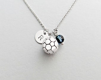 Soccer Ball Initial Necklace Personalized Hand Stamped - with Silver Soccer Ball (Football) Charm and Swarovski (Initial or Team Number)