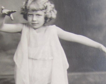 Tiny Dancer - Sweet  Young Girl Shows Her Style - 1910's RPPC Real Photo Postcard - Free Shipping
