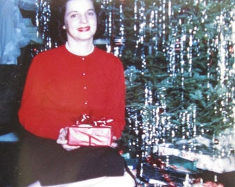 A Kodachrome Christmas - Cute 1940's Woman By The Christmas Tree Color Kodachrome Snapshot Photograph - Free Shipping
