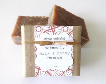 Handmade Oatmeal Milk Honey Soap, Cold Process Soap, Goat Milk Soap 4.5oz