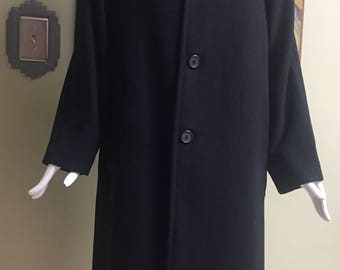 Vintage High-End Italian Black Cashmere Coat - Men's Large