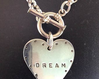 "Sterling Silver ""DREAM"" Heart Pendant/Necklace -Vintage Artisan Handmade - Inspirational Saying ""Dream"" Silver Heart Necklace"
