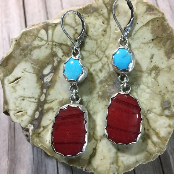 Turquoise and Rosarita Red, Sterling Silver Drop Earrings