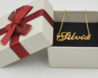 Name necklace gold-Personalized name jewelry-sterling silver plated gold-handmade Christmas gift for bestfriend