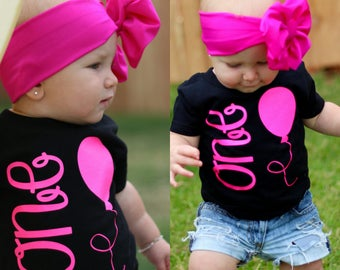One Year Old Girl Birthday Outfit, Girl First Birthday Outfit, 1st Birthday Shirt, Pink 1st Birthday Girl Outfit, READY TO SHIP © Liv & Co.™