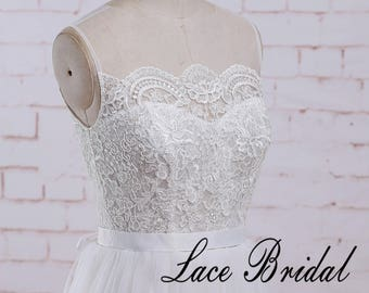 Ivory A Line See Through Vintage Lace Wedding Dress with Flowy Tulle Skirt