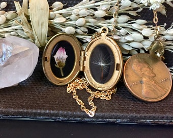 tiny mountain laurel and dandelion locket // vintage brass necklace // real pressed flowers // made in vermont
