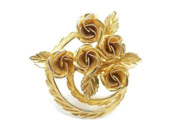 Vintage Roses Brooch, Cluster, Leaves, Gold Tone